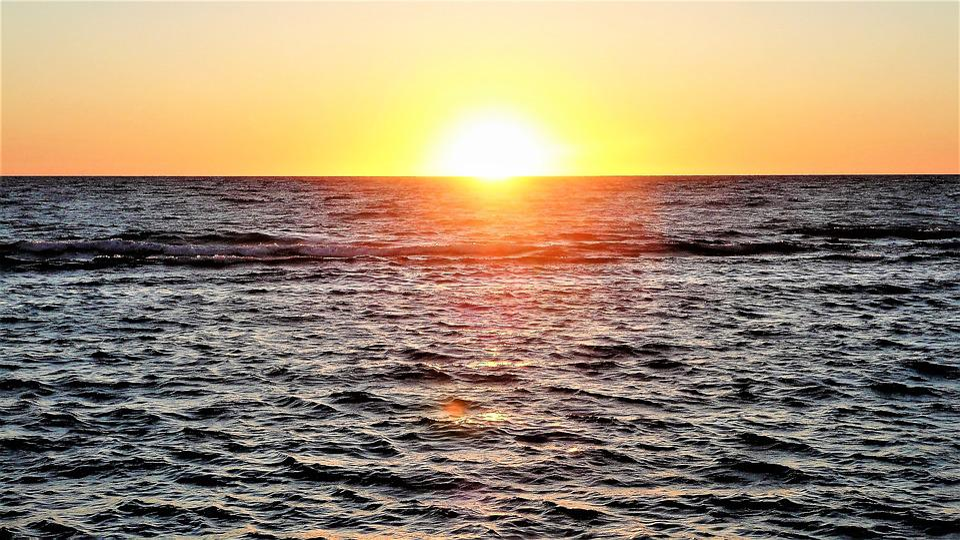 Sunset, Sea, Waters, Sun