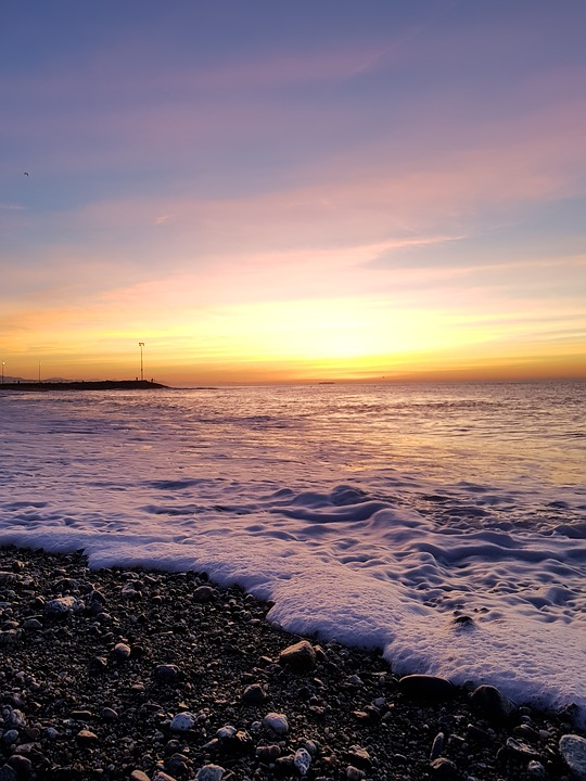 Sunset, Waters, Beach, Sea, Costa