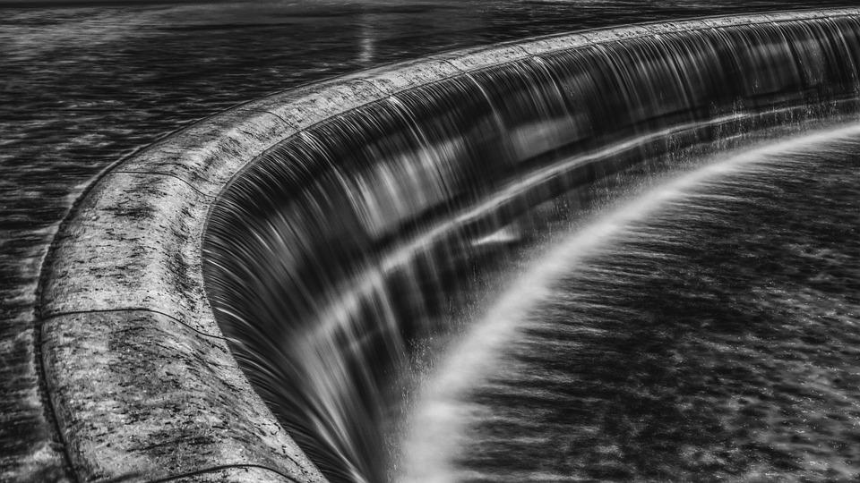 Waterfall, Black White, Water, Waters, Water Power