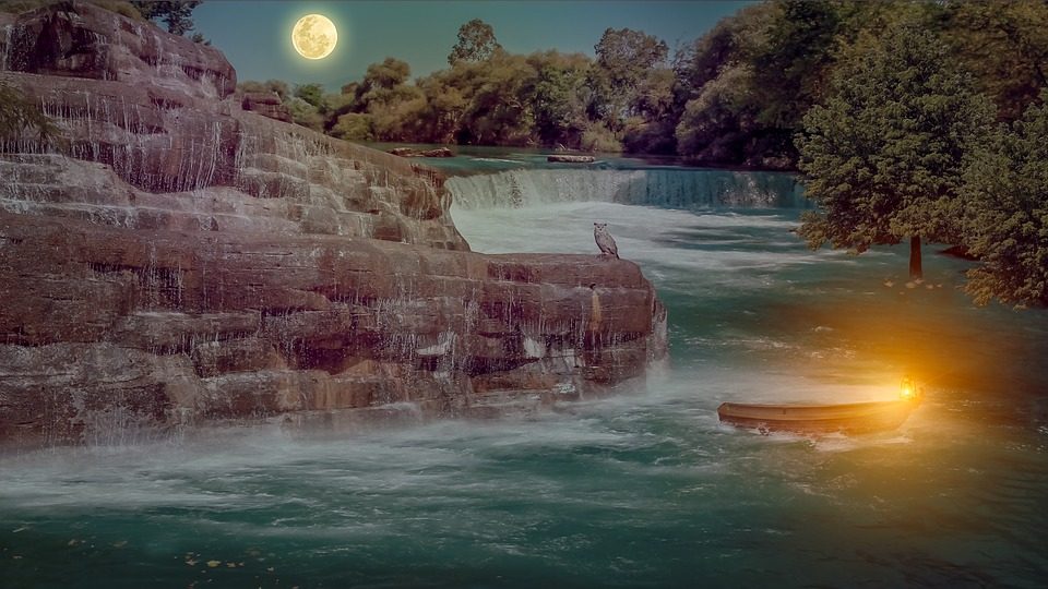 Waterfall, Waters, Dawn, Nature, Moon