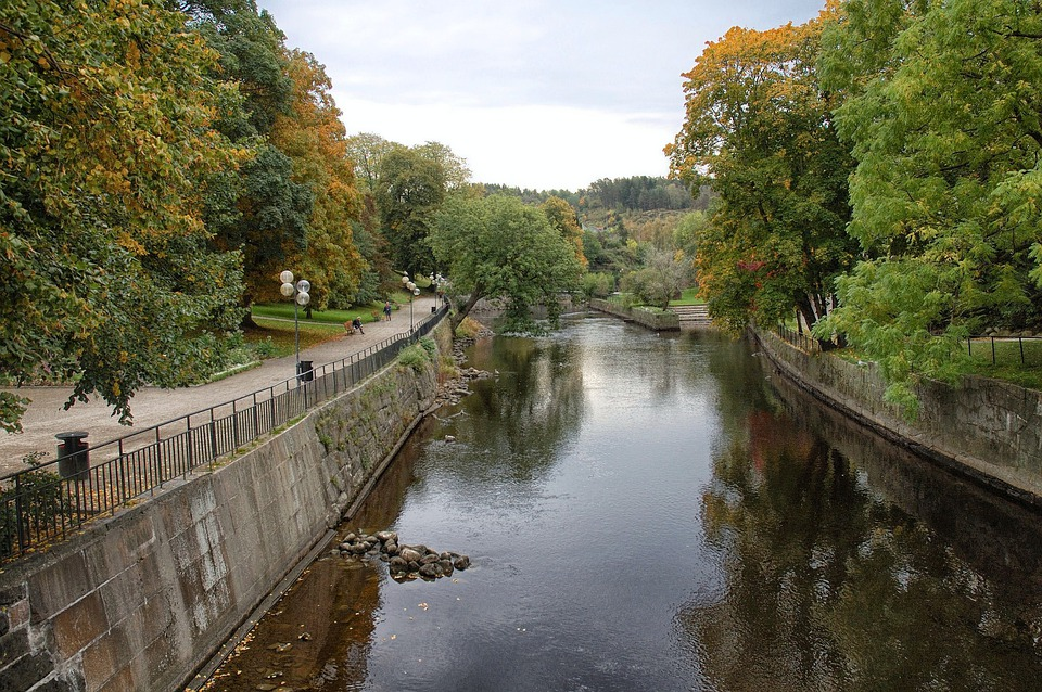 Uddevalla, Sweden, Canal, Waterway, Reflections, Fall