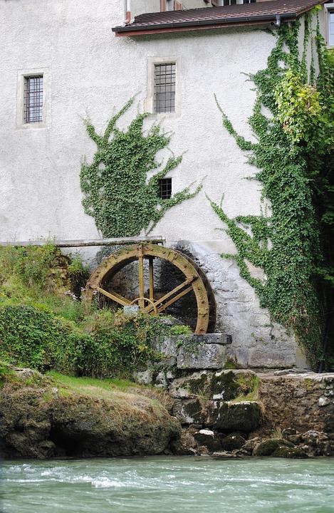 Millwheel, Waterwheel, Water Power, Brugg, Switzerland