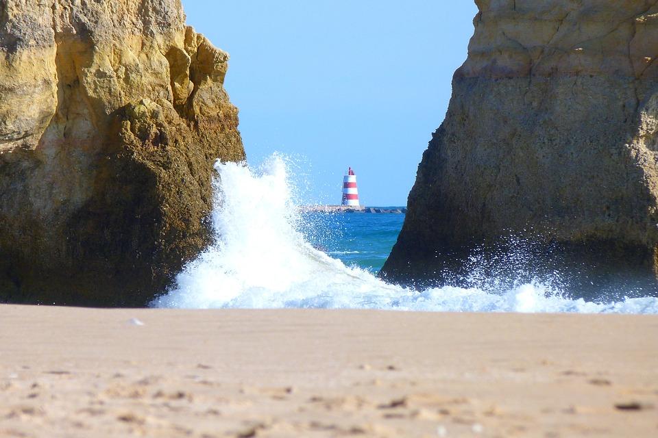 Lighthouse, Wave, Rock, Coast, Sea, Algarve
