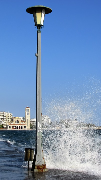 Greece, Volos, Promenade, Lamp, Wave, Thessaly