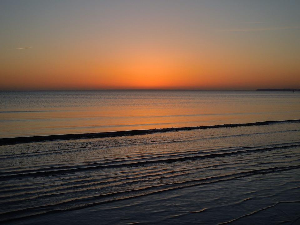 Sea, Sunrise, Mirroring, Wave