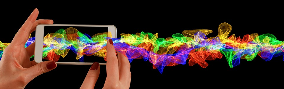 Mobile Phone, Smartphone, Hand, Particles, Wave, Color