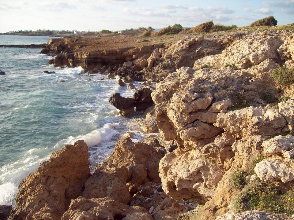 Cyprus, Paphos, Sea, Coast, Mediterranean, Water, Wave