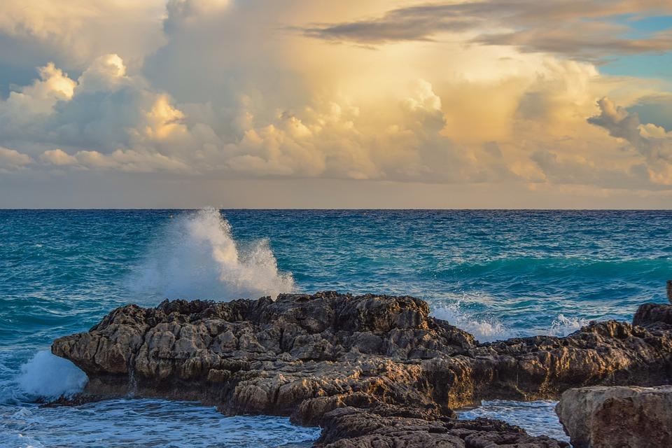 Sea, Seashore, Rocky Coast, Sunset, Sky, Clouds, Wave
