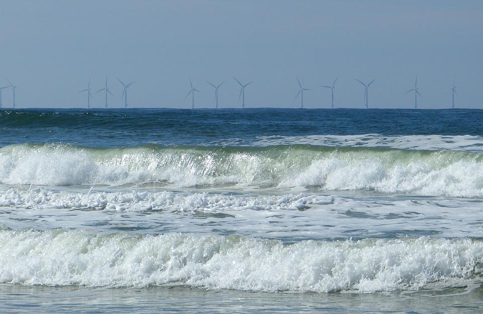 Sea, Wave, North Sea, Spray, Wind Park