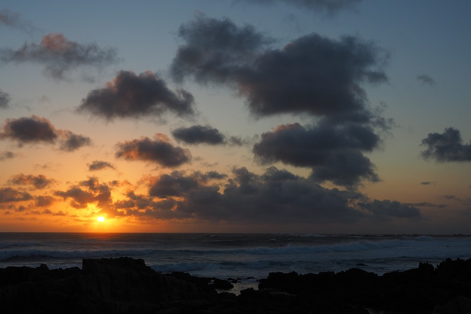 Sunset, Sea, Wave, Clouds, South Africa