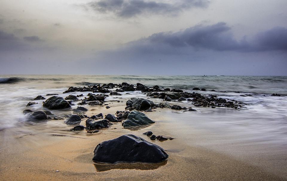 Beach, Seascape, Uae, Rocks, Water, Wave, Long Exposure