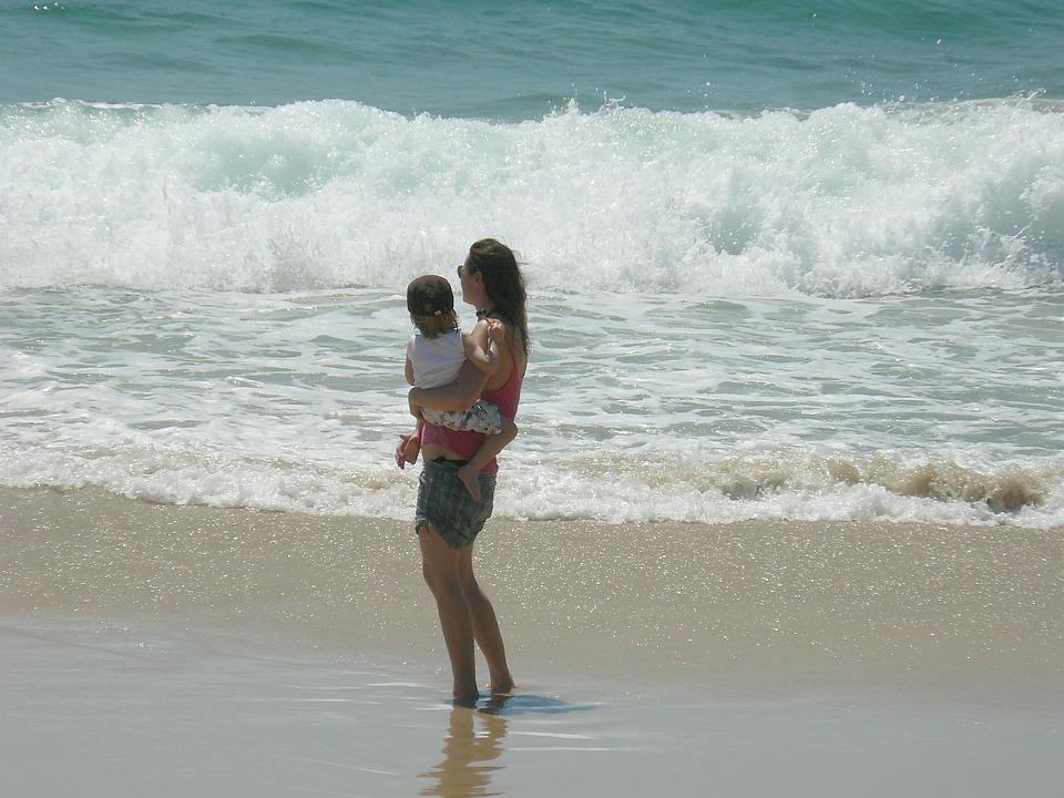 Mother, Child, Beach, Waves, Water, Ocean