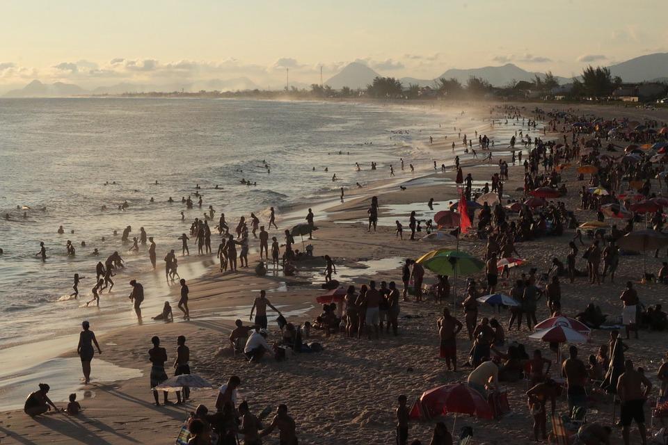 People, Crowd, Beach, Ocean, Waves, Costa, Sky