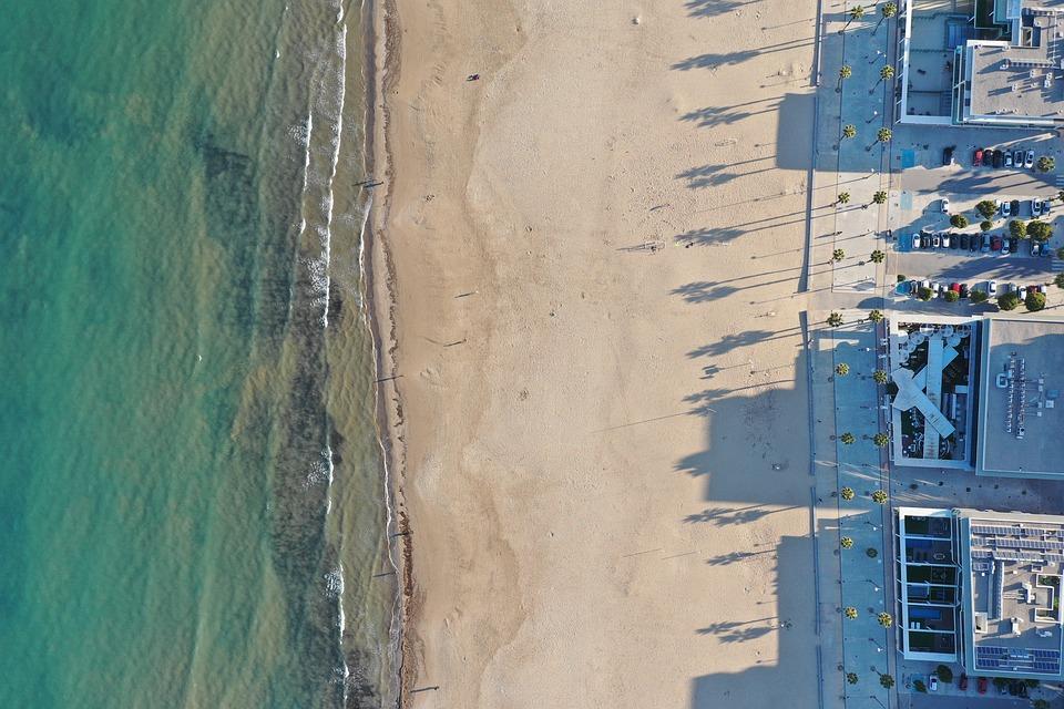 Beach, Sand, Aerial, Drone, Villa, Ocean, Sea, Waves