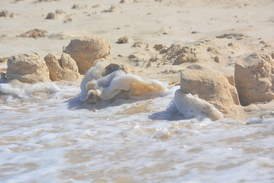 Sand Castle, Devastation, Waves, Beach, Sea, Nature