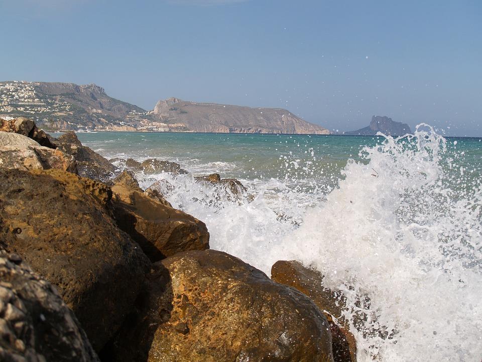 Waves, Breakwater, Sea, Altea, Nature, Costa, Alicante