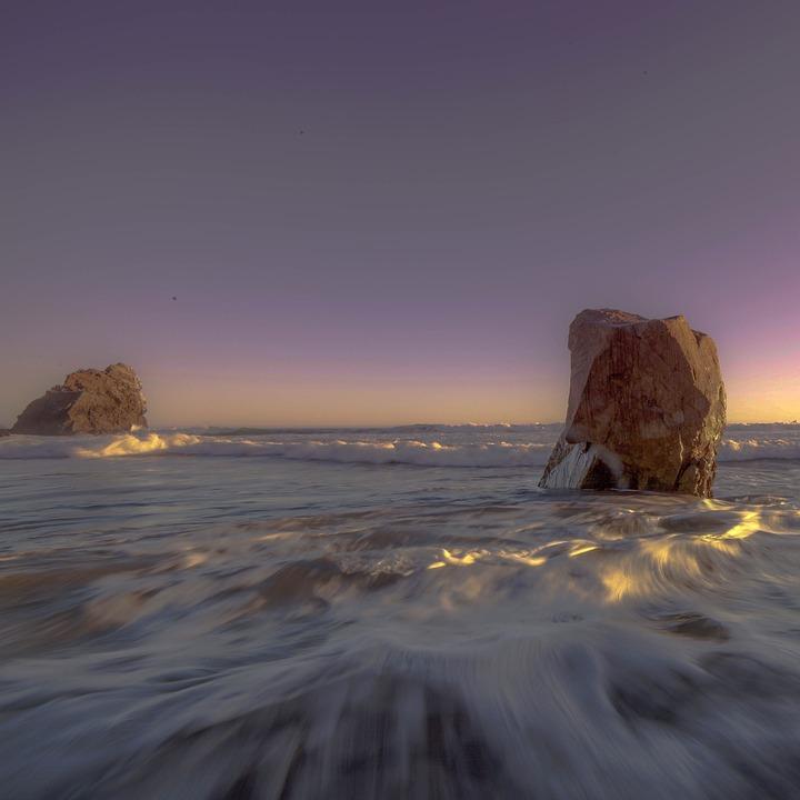 Sea, Ocean, Water, Waves, Rocks, Nature, Sky, Sunlight