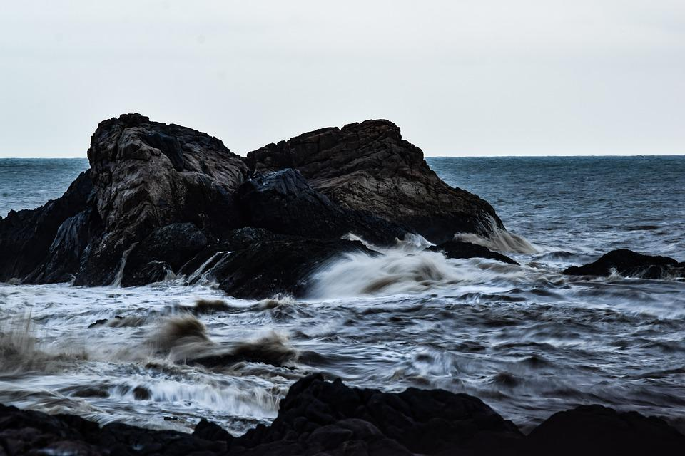 Ocean, Moody, Waves, Rock, Sea, Weather, Storm, Dark