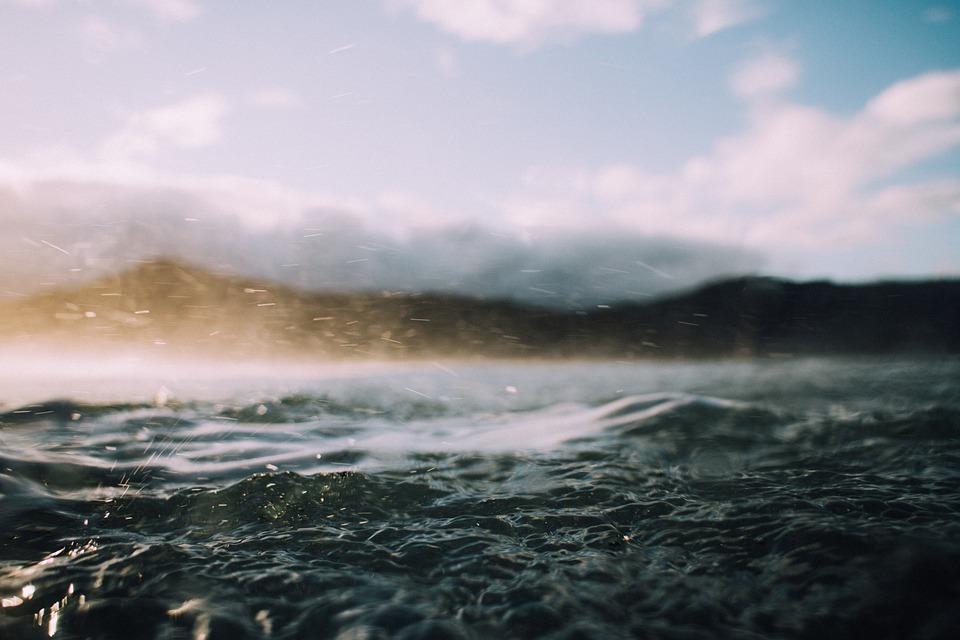 Water, Waves, Horizon, Ocean, Outdoors, Rain, Sea
