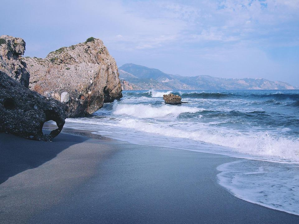 Beach, Sand, Shore, Ocean, Sea, Waves, Water, Rocks