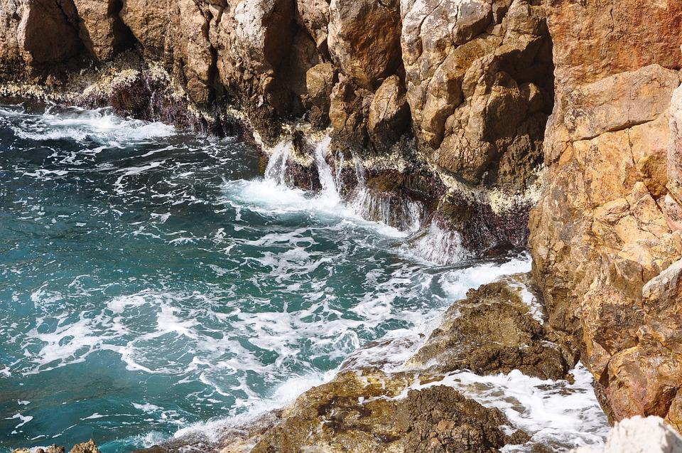 Rough Sea, Juan Les Pins, Waves, Sea, Cliff