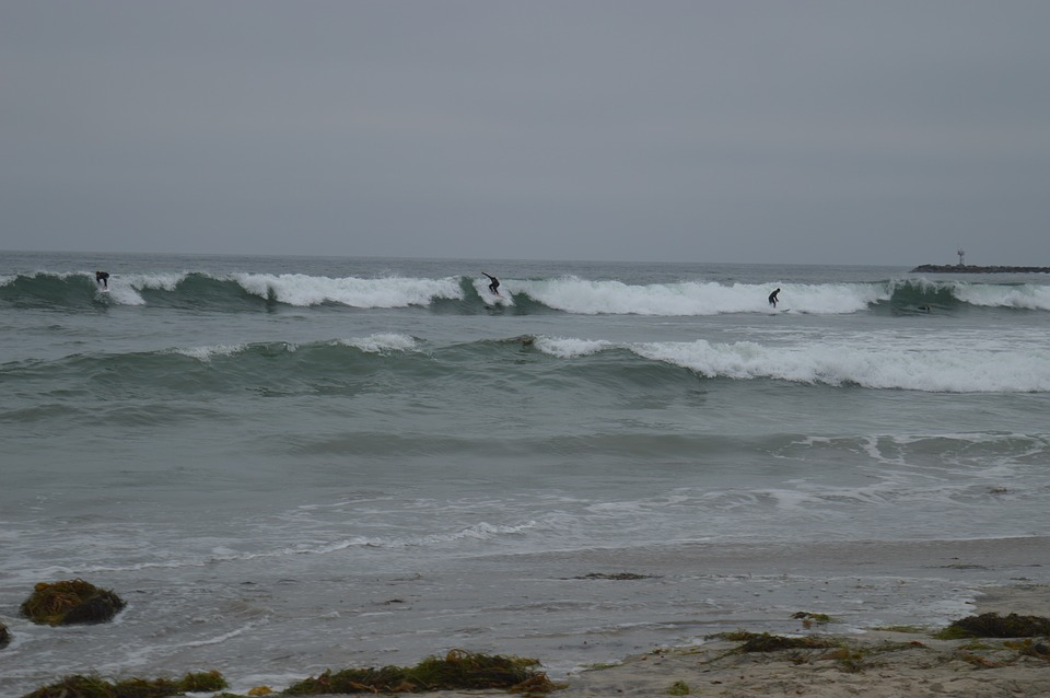 San Diego, California, Waves, Ocean, Beach, Gloomy