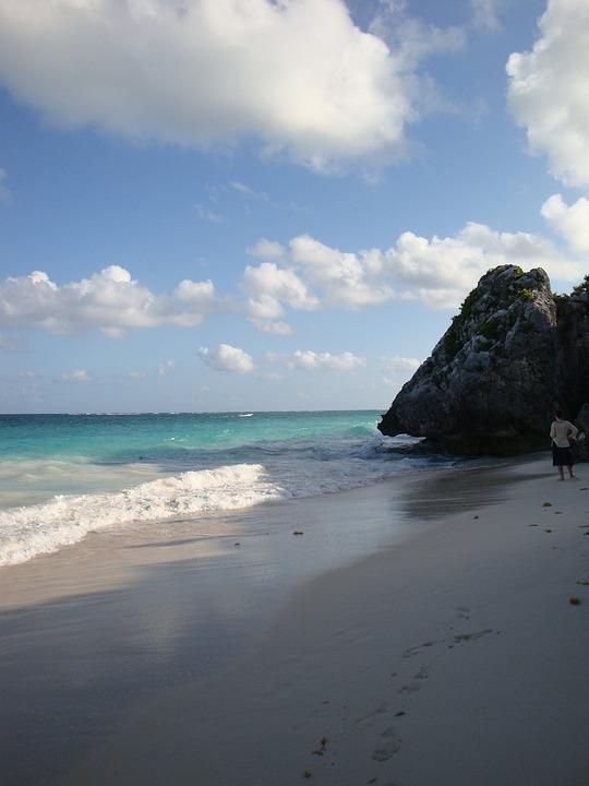 Beach, Tropical, Mexico, Waves, Sky, Clouds, Beauty