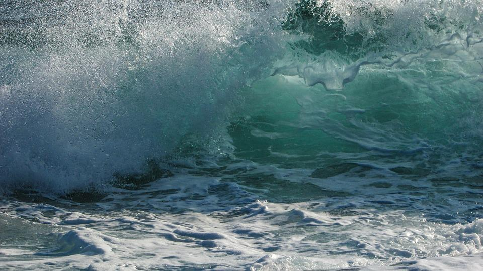 Waves, Foam, Spray, Energy, Splash, Power, Motion