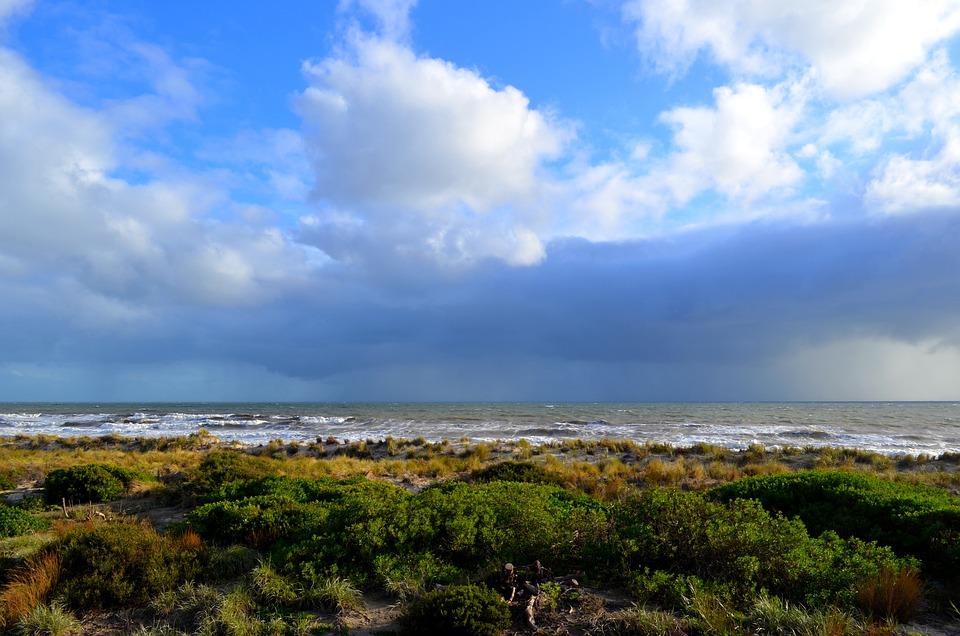 Rain, Sky, Cloud, Sun, Shore, Waves, Landscape, Water