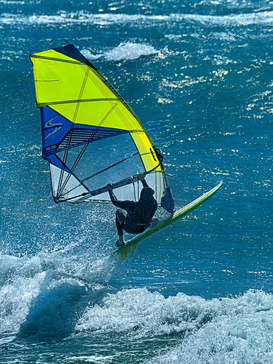 Windsurfing, Wind, Waves, Flying, Colorful, Sunny