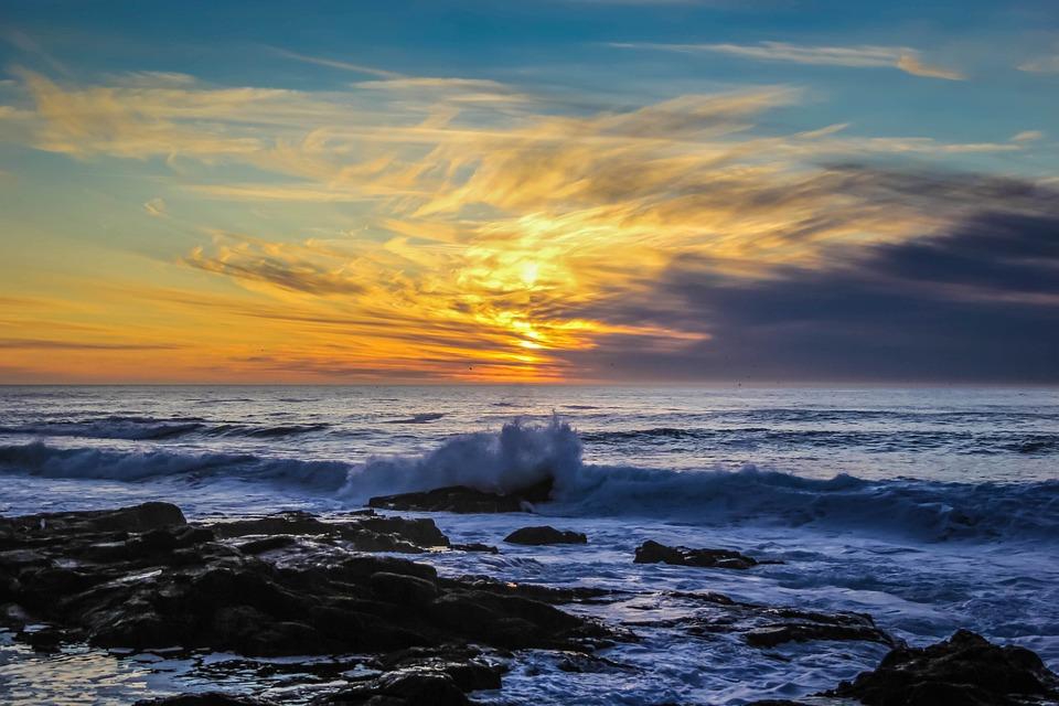 Ocean, Sea, Sunset, Waves, Coast, Shore