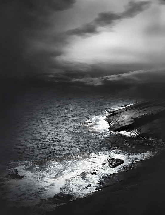Rocks, Water, Waves, Coast Line, Weather Mood