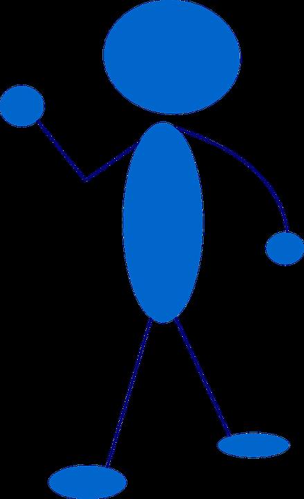 Stickman, Stick Figure, Man, Blue, Waving, Cartoon