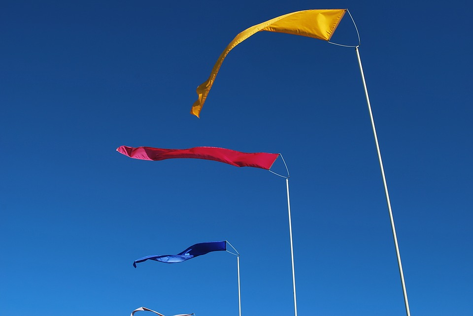 Flags, Wind, Primary Colors, Sky, Waving