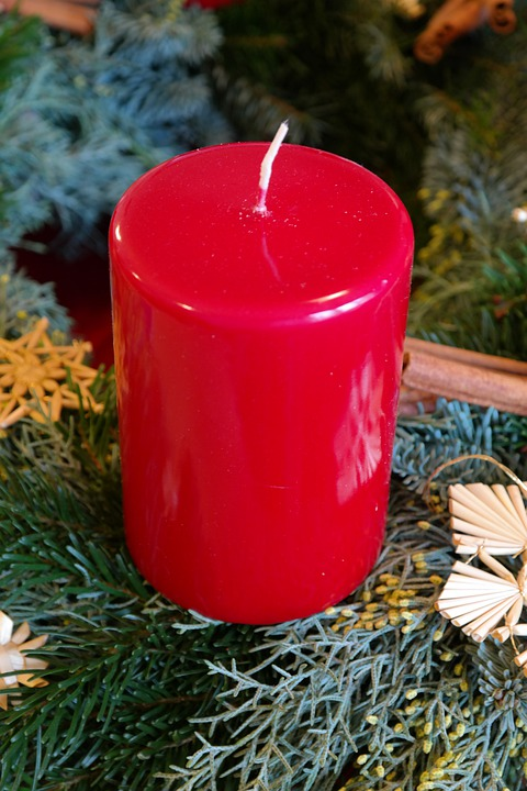 Candle, Red, Wax Candle, Advent Wreath, First Advent