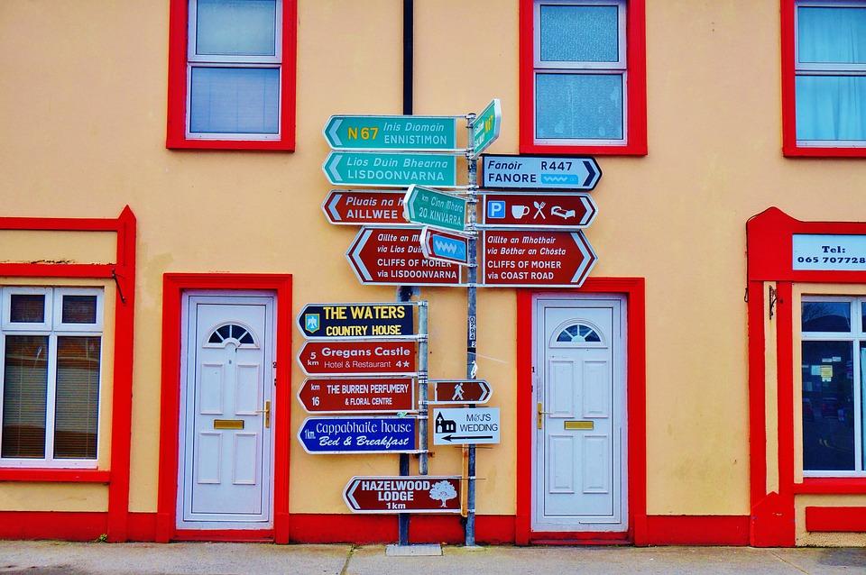 Ireland, Galway, Sign, Road, House, Way, Door