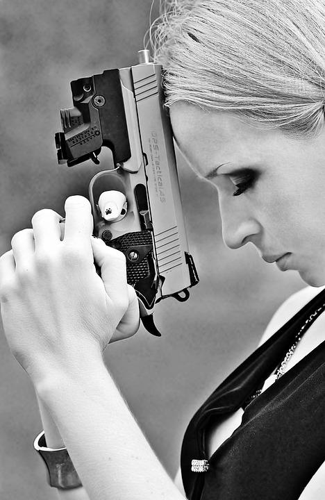 Weapon, Pistol, Woman, Pray, Anger, Black White