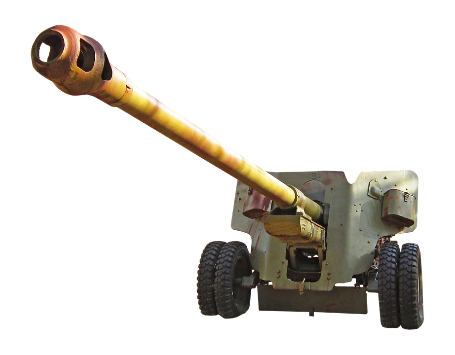 Howitzer, Artillery, Barrel, War, Weapons, Metal