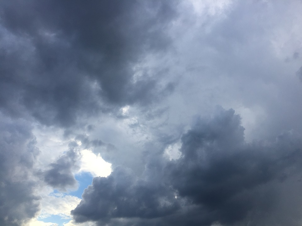 Cloudy, Stormy Sky, Nature, Weather, Rain, Gray, White