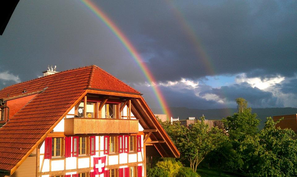 Rainbow, Fachwerkhaus, Weather, Nature, Mood, Homes