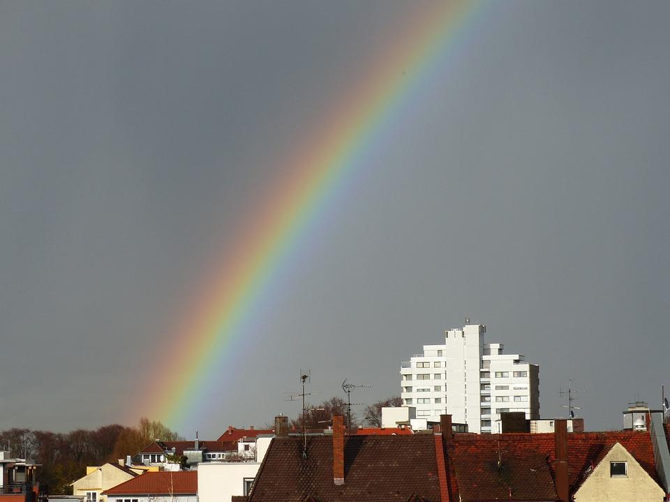 Rainbow, Weather Phenomenon, Sky, Rain, City, Homes