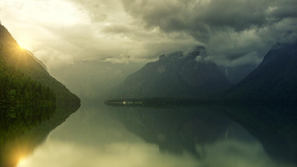 Lake, Mountains, Landscape, Weather, Clouds, Sun, Water