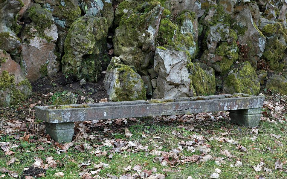 Bank, Stone, Weathered, Old, Rock Bank, Bench, Lapsed
