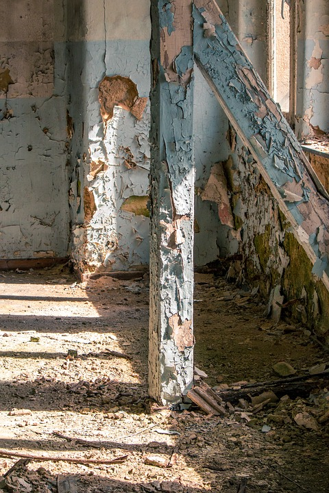 Wooden Beams, Entablature, Space, Weathered Paint