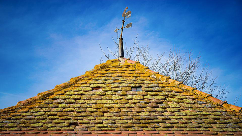 Home, Weatherman, Roof, Close, Sky, Old, Green, Macro