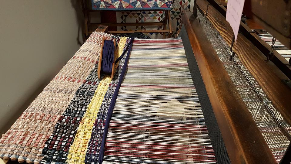 Weaving, Loom, Horizontal, Wooden, Fabric, Rope, Frame