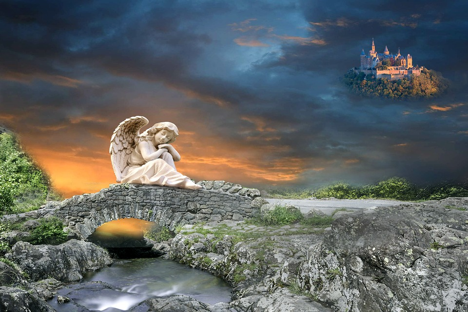 Angel, Guardian Angel, Bridge, Web, River, Fantasy