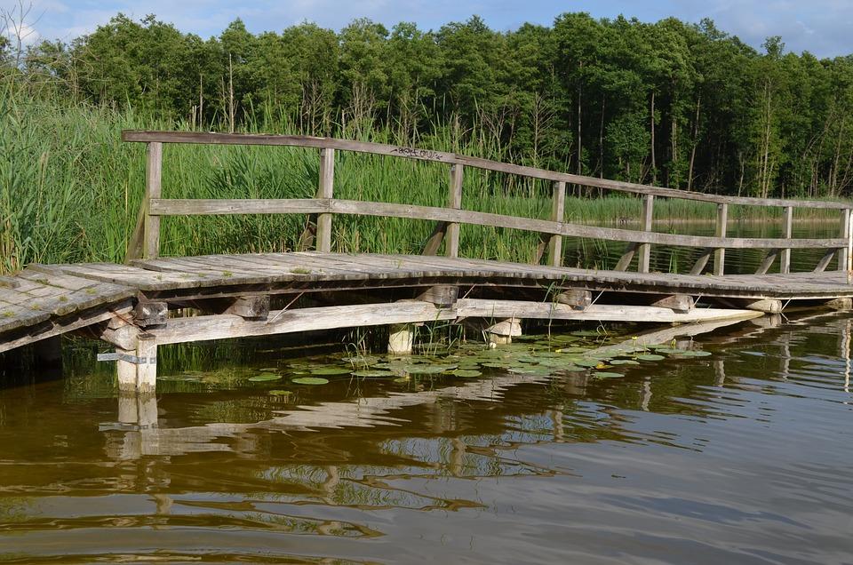 Web, Lake, Waters, Water, Jetty, Dock, Bathing Place