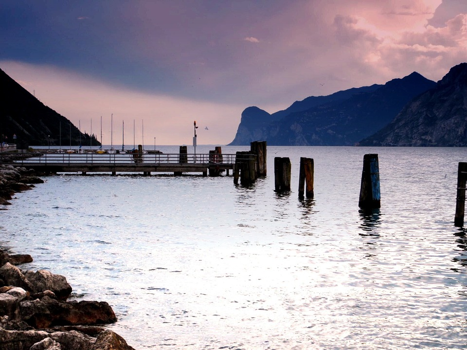 Water, Port, Bank, Web, Mountains, Landscape, Nature