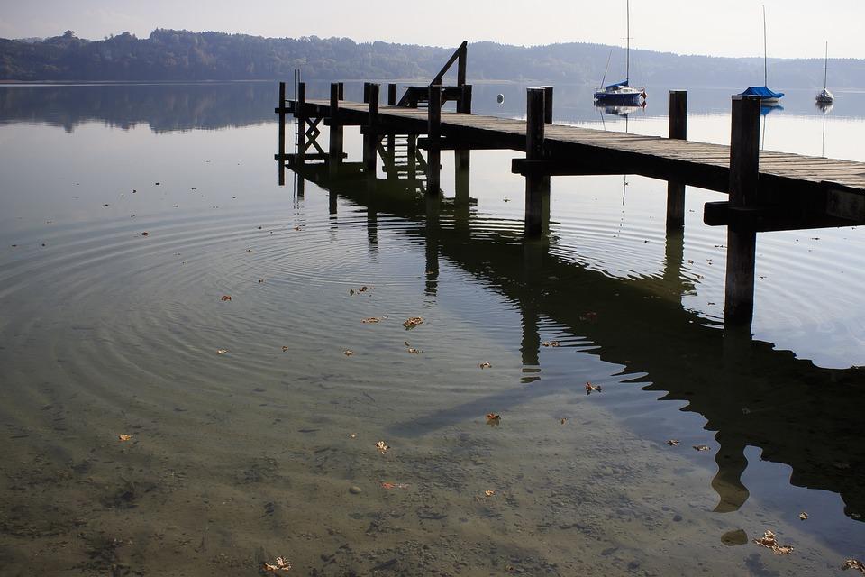 Lake, Web, Boats, Mirroring, Panorama, Simssee